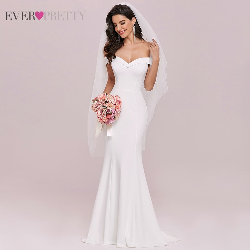 Mermaid Wedding Dresses For Women Ever Pretty Sweethart Sleeveless Sweep Backless Bridal Dress EH00247CR Свадебное Платье 2021