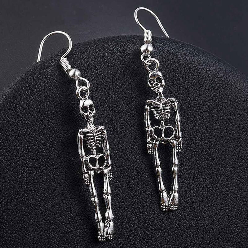 1 par de halloween vintage esqueleto crânio balançar brincos festa pânico gota brinco para mulheres jóias presentes