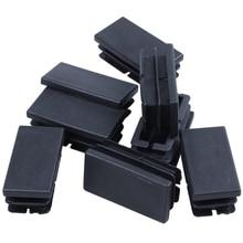 8 Uds. Tapas rectangulares de plástico negro para ojales 20mm x 40mm