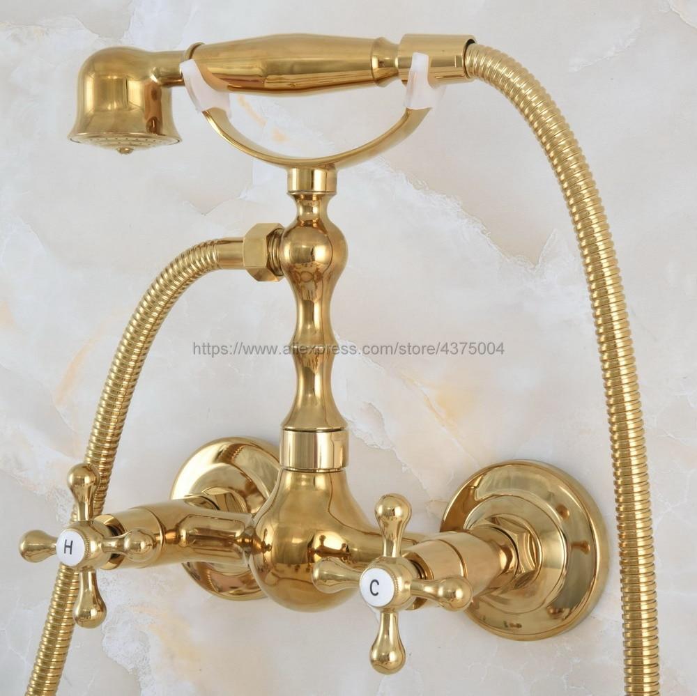 حنفية دش نحاسية ذهبية اللون مثبتة على الحائط بمقبضين ودش يدوي Nna830