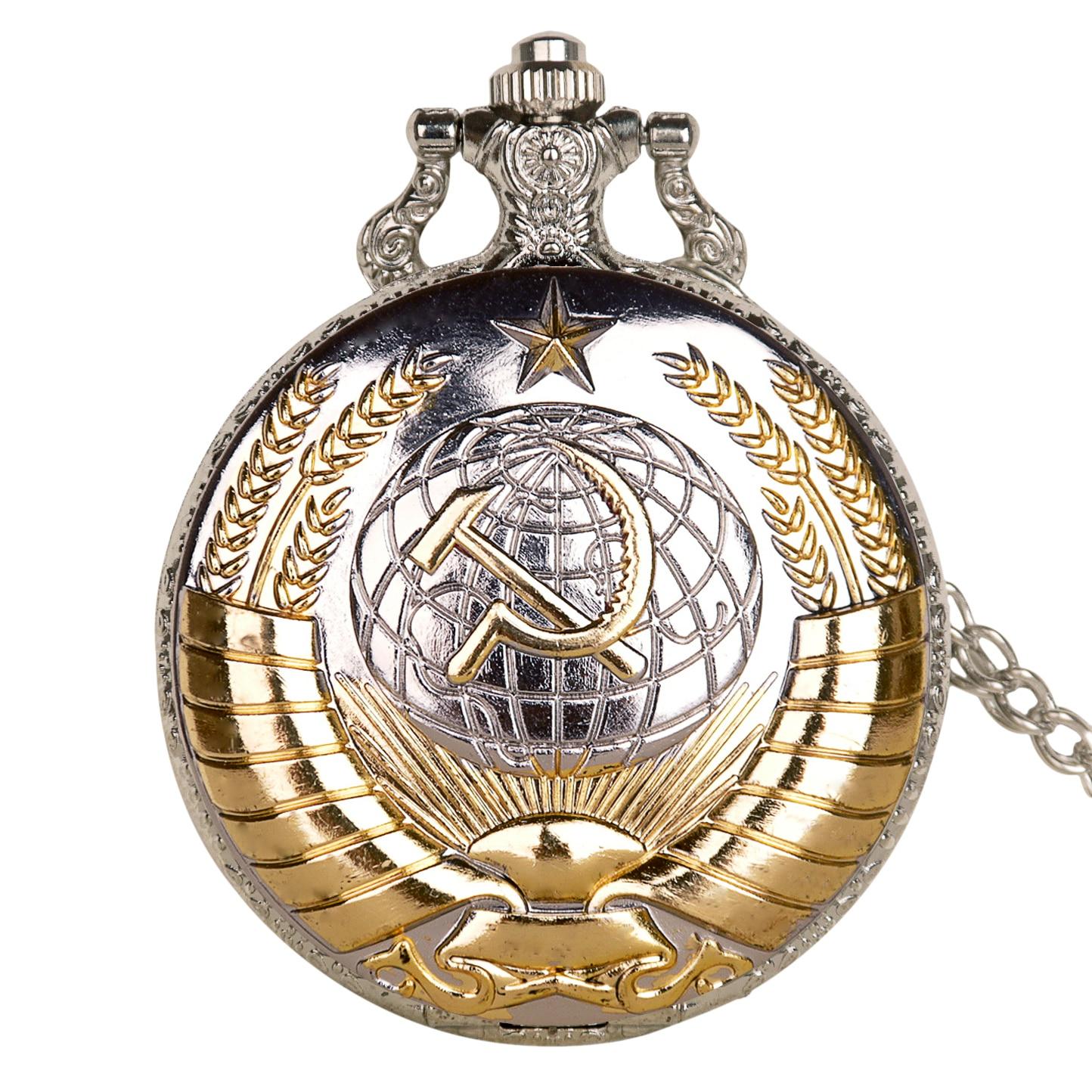 Novo vintage urss soviético emblemas martelo relógio de bolso retro rússia exército cccp quartzo bolso relógio colar corrente para homens