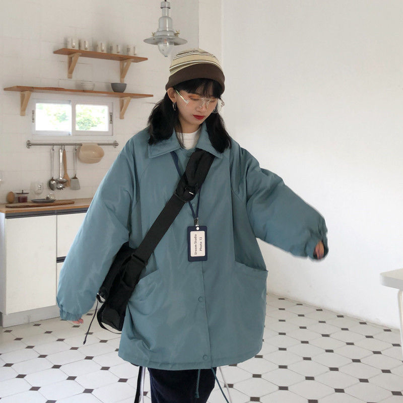 Новинка 2020, хлопковая одежда в Корейском стиле, женская одежда, свободное однотонное пальто средней длины для осени и зимы, плотное теплое м...
