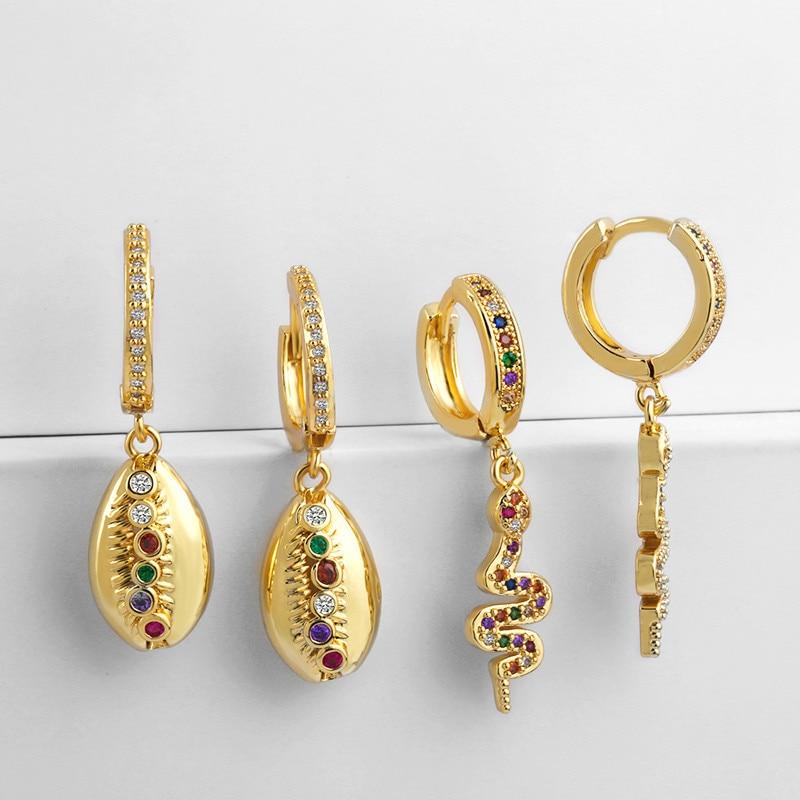 Gold CZ Schlange Ohrringe Gold Kauri Shell Huggie Ohrring Aretes De Moda Sommer Huggie Schmuck Frau Günstige Ohrringe Punk