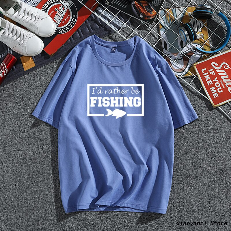 Id Rather Be Fishing Short Sleeved Fashoinable Gift men 100% Cotton Mayma Tee shirt