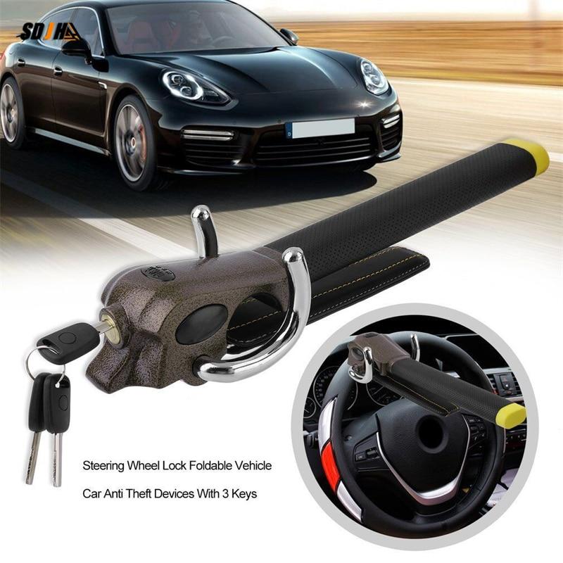 Автомобильный Замок на рулевое колесо, защита от кражи, T-образные складные Автомобильные замки на рулевое колесо, защитные Автомобильные з...
