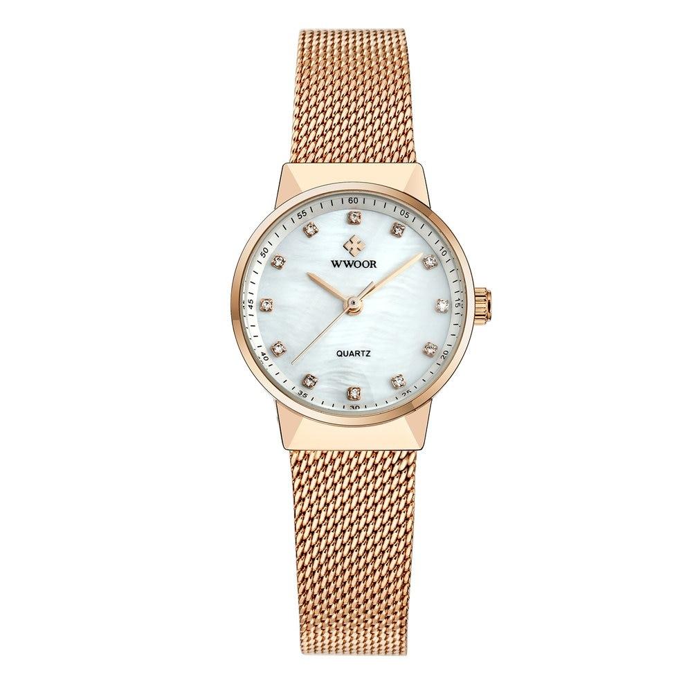 Reloj de pulsera con correa de acero de alta calidad y diseño elegante a la moda para mujer