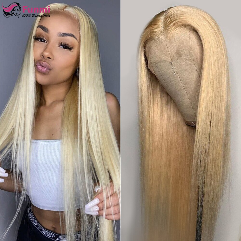 613 Honey Blonde Lace Front Wig Transparent Part Lace Wigs Brazilian Straight Human Hair Wigs For Bl