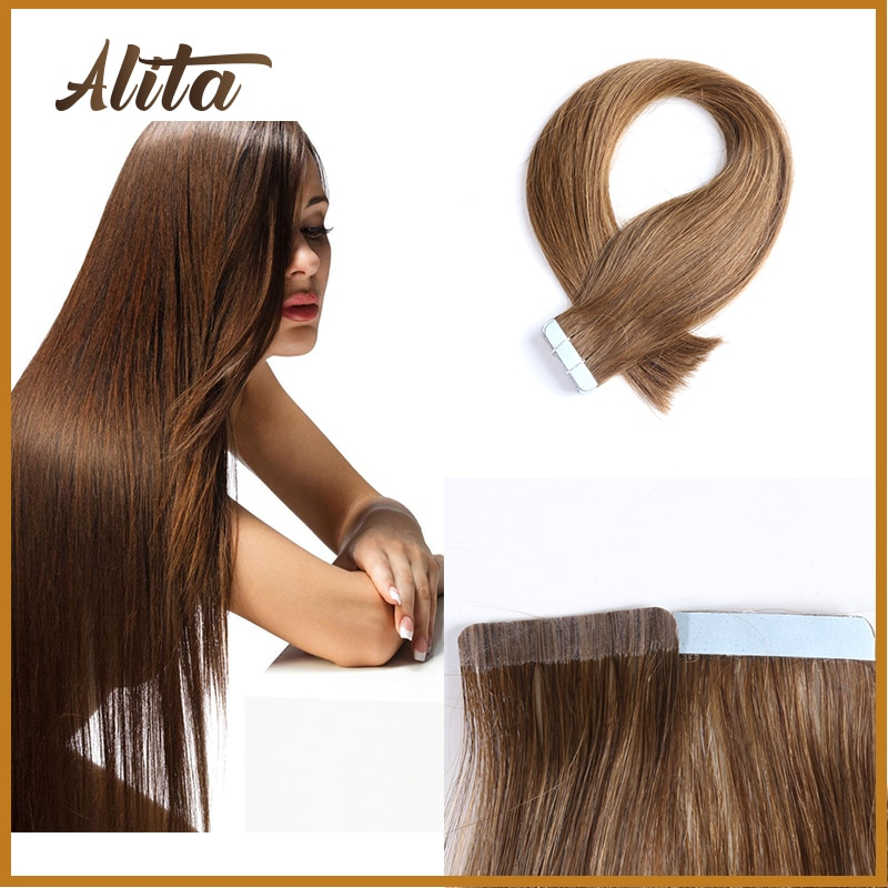 alishow tape in remy human hair extensions double drawn hair straight invisible skin weft pu tape on hair extensions Tape In Human Hair Extensions Remy Real Hairpieces Invisible Skin Weft Tape Extensions Natural Straight Brown Blonde Pure Color