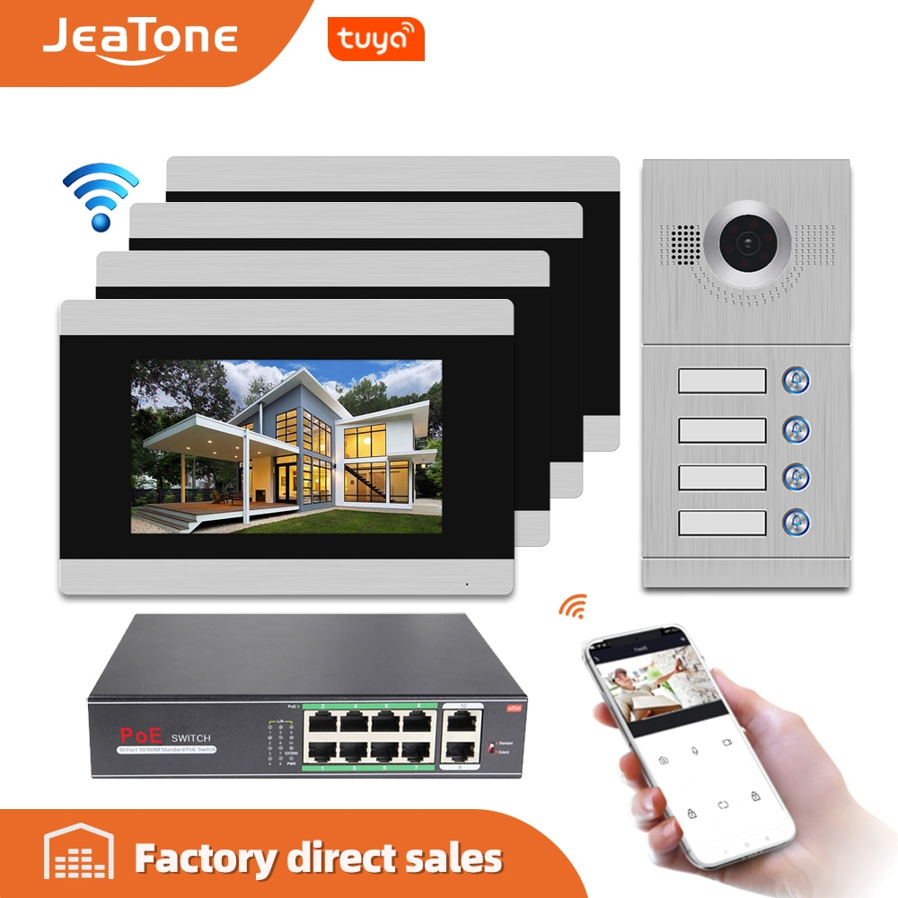 Jeatone 7 pantalla con WIFI IP Video intercomunicador Video puerta Teléfono para 4 apartamentos separados, soporte teléfono control remoto