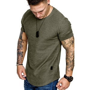 Summer New Men's Casual T-shirt Loose Short Sleeve Round Neck Top Solid Color Plus Size Man Clothing Fashion Men's Top