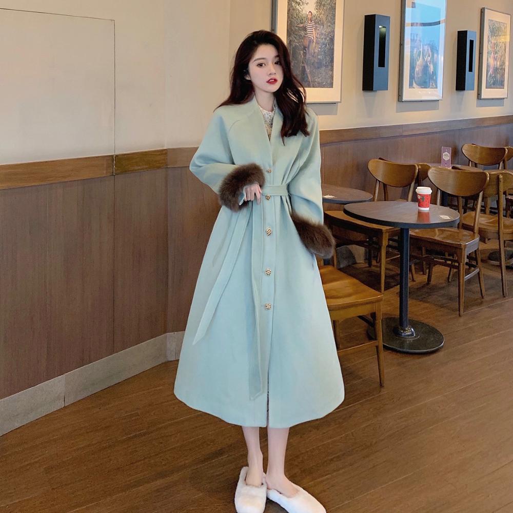 HOT Autumn and winter Women Woollen overcoat French Woolen cuff Medium length Little chap Temperament Elegant Romantic Fashion
