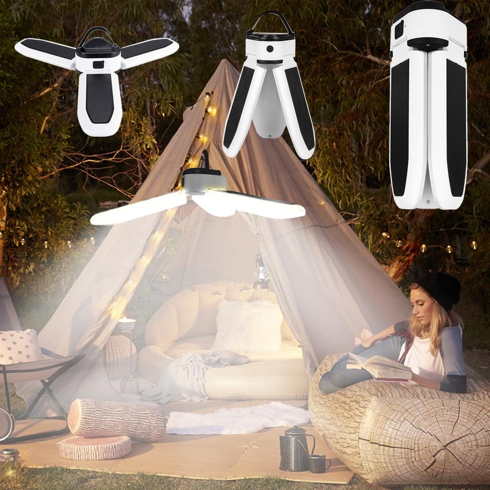 فانوس التخييم مصباح محمول التخييم ضوء Led قابلة للشحن ورشة مصباح معدات مخيم الطوارئ لمبة قوية الشمسية أو Usb