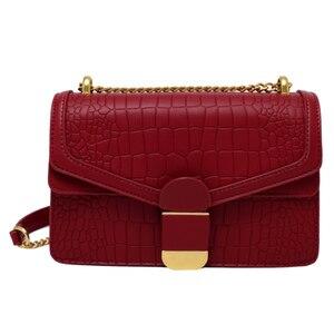 Trendy Stone Pattern Chain Shoulder Bag Women 2021 Fashion PU Leather Flap Small Crossbody Handbag Female Wild Mini Square Bag