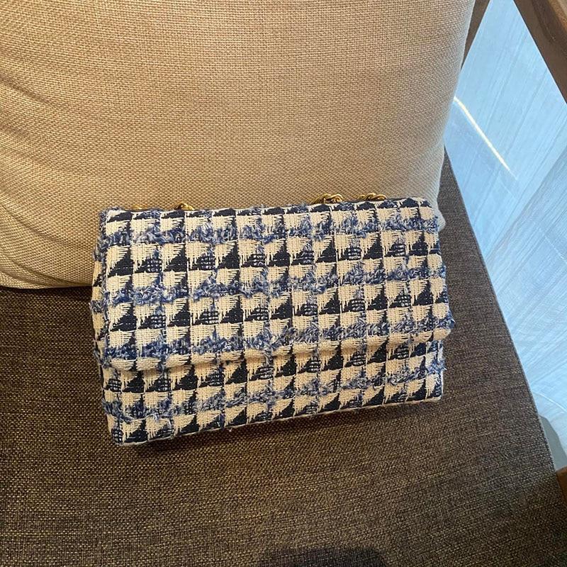 المرأة حقيبة كتف سروال قصير المواد شعرية سلسلة معدنية محفظة زرقاء لفتاة الأزرق والأبيض