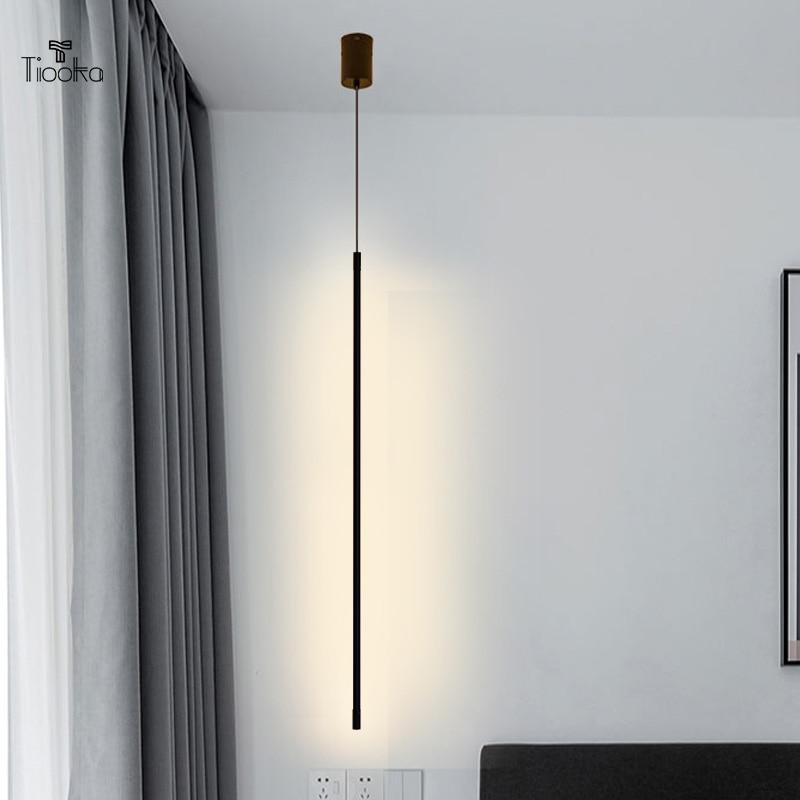 Kobuc الشمال LED مصابيح تعليق للزينة أضواء خط بساطتها 60/80/100/140 سنتيمتر طويل قلادة ضوء ل السرير التلفزيون خلفية بار الممر