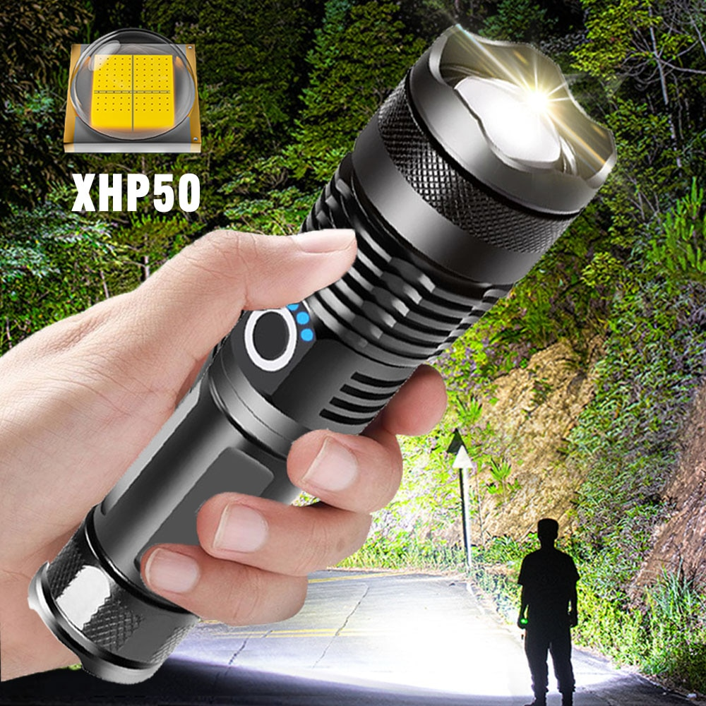 ZHIYU Adjustable Flashlight Strong Light Rechargeable LED Torch 18650 or 26650 Battery Zoom 5 Modes