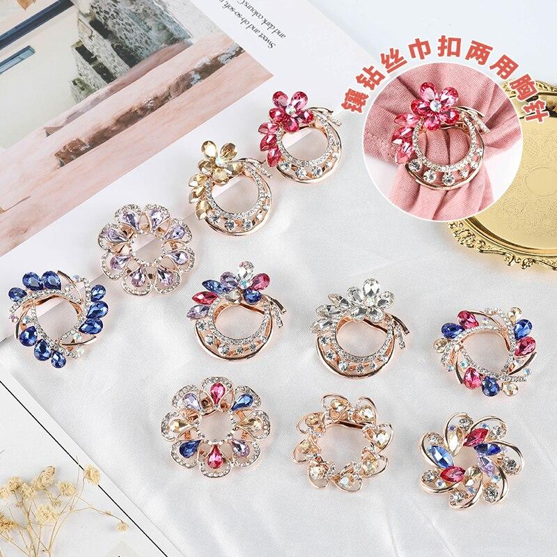 SHLL broche de cristal con forma de flor grande para mujeres broche a la moda ramo de diamantes de imitación broches y Pins bufanda Clip accesorio de joyería