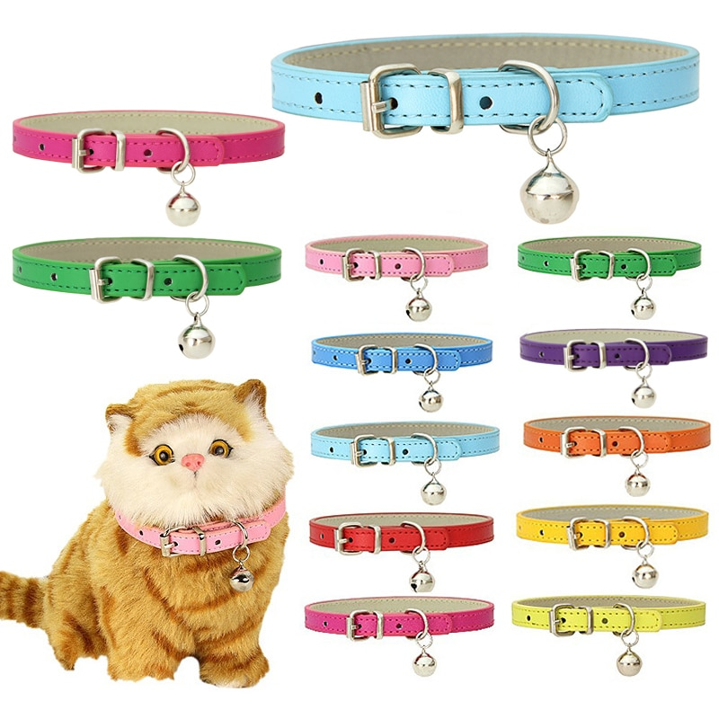 10 Colors PU Pet Dog Cat Collar with Big Bell Candy Color Adjustable Pet Neck Ring Pet Neck Strap Safety Buckle Pet Supply colorful cute dog pet glossy reflective collar safety buckle bell strap 6 colors adjustable strap