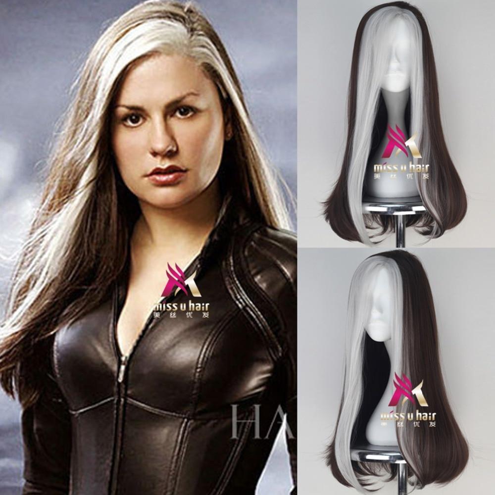 Película x-men Anna Marie peluca Rogue Play Poseidón pelo Marvel cómic Cosplay disfraz de Halloween pelucas sintéticas de fibra refractaria