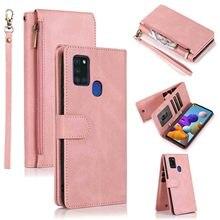 Чехол кошелек на молнии для Samsung Galaxy A21S A21 A31 A51 A71 A42 A52 A72 A81, ретро чехол из искусственной кожи с магнитной застежкой, чехол для телефона