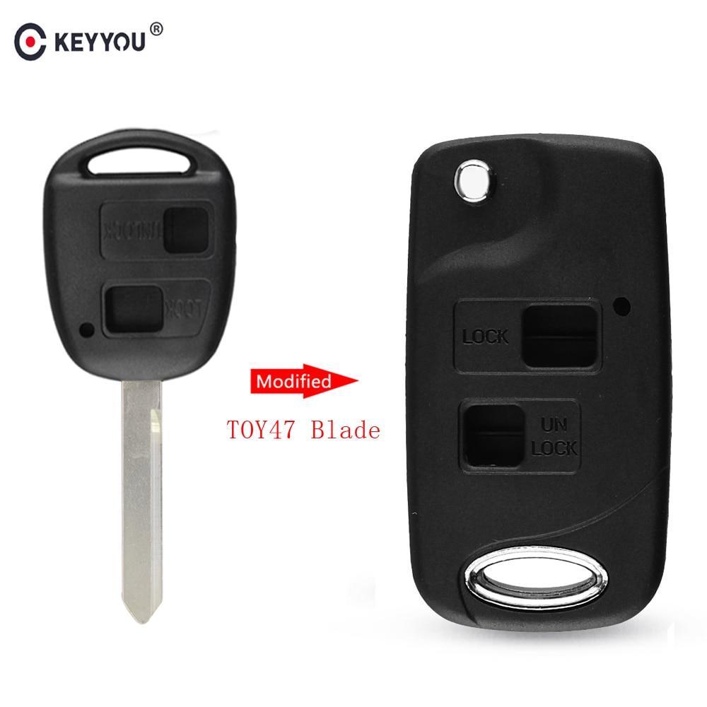 KEYYOU 2 кнопки дистанционного управления Fob модифицированный складной Автомобильный ключ оболочки чехол для Toyota Yaris Carina Corolla Avensis переключатель TOY47