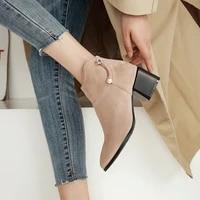 plus size 34 48 women shoes winter autumn casual women high heels pumps fashion warm ankle boots women botas shoes mujer zapatos
