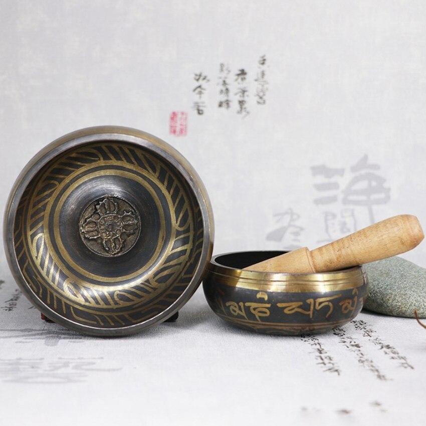 Handmade 3.15 Inch Tibetan Bell Metal Singing Bowl with Striker for Buddhism Buddhist Meditation Healing Relaxation enlarge