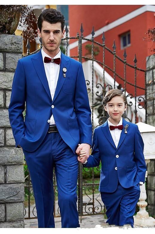 Trajes de negocios para hombre azul real, trajes de novio, esmoquin para hombre, niños pequeños, conjuntos de vestidos de fiesta de graduación (chaqueta + Pantalones + pajarita) H 031