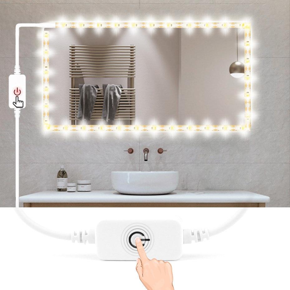 USB 5V водонепроницаемый зеркальный светильник для ванной, Светодиодная лента для макияжа с сенсорным диммером, зеркало для макияжа, декор дл...