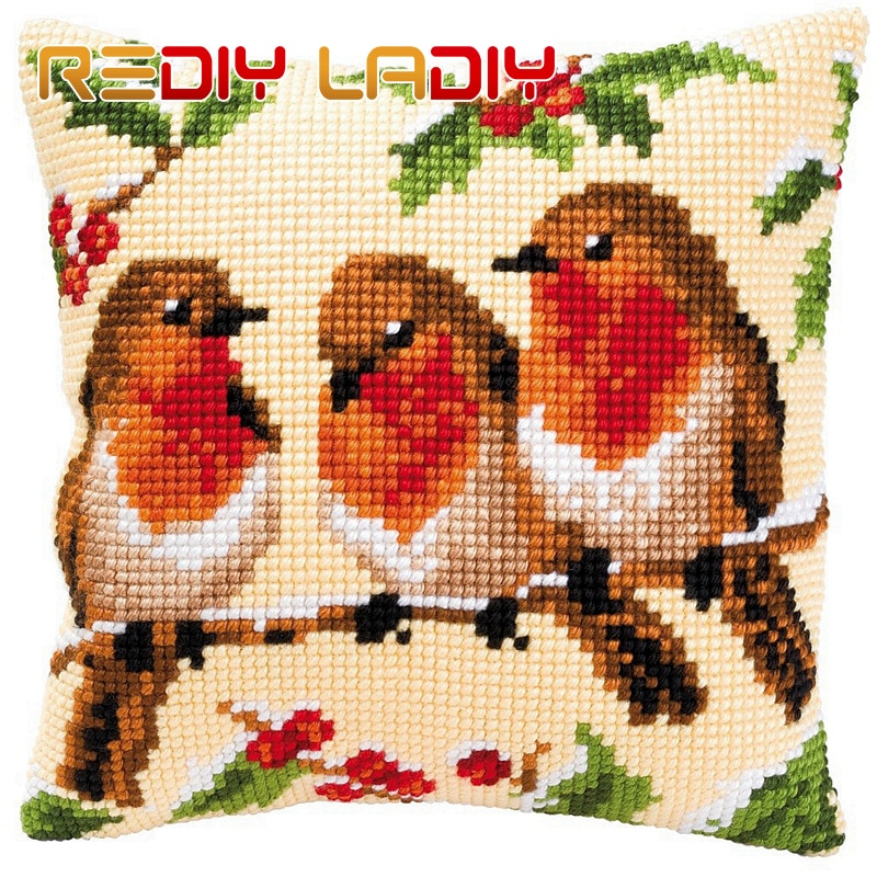 Cruz cojín Robins familia tu propia almohada grueso Cruz puntada Kit-Lona de acrílico almohada de hilo caso