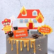 Pompier, moteur à feu, décoration de bricolage   Échelle de gâteaux, drapeaux de gâteaux, décoration pour fête danniversaire pour enfants et garçons, décoration pour fête danniversaire de mariage, soirée de jeune fille