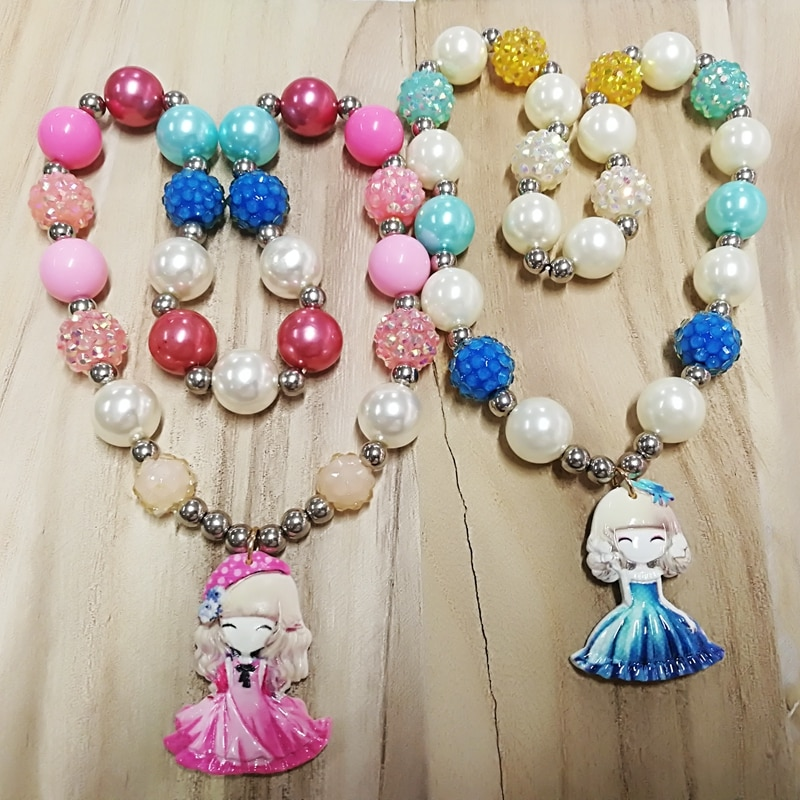 Gilrs niños elástico colorido perla cristal resind perla gargantilla collar regalo joyería