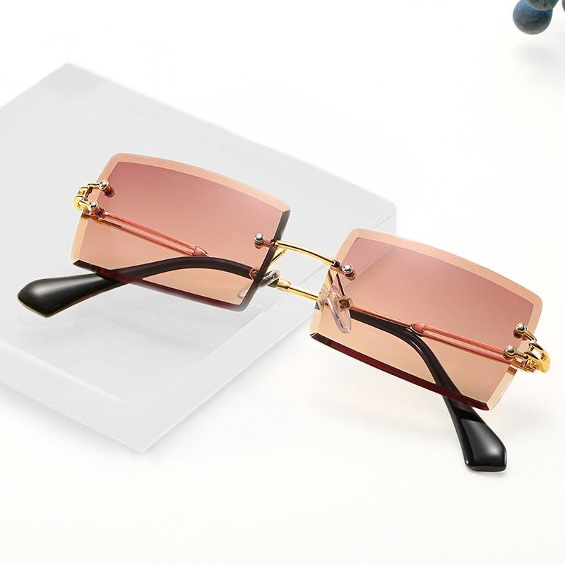 Retro small rectangle sunglasses women rimless square sun glasses for women 2020 summer style female