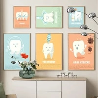 cartoon child teeth treatment oral hygiene educate wall art canvas painting posters and prints wall pictures dental clinic decor