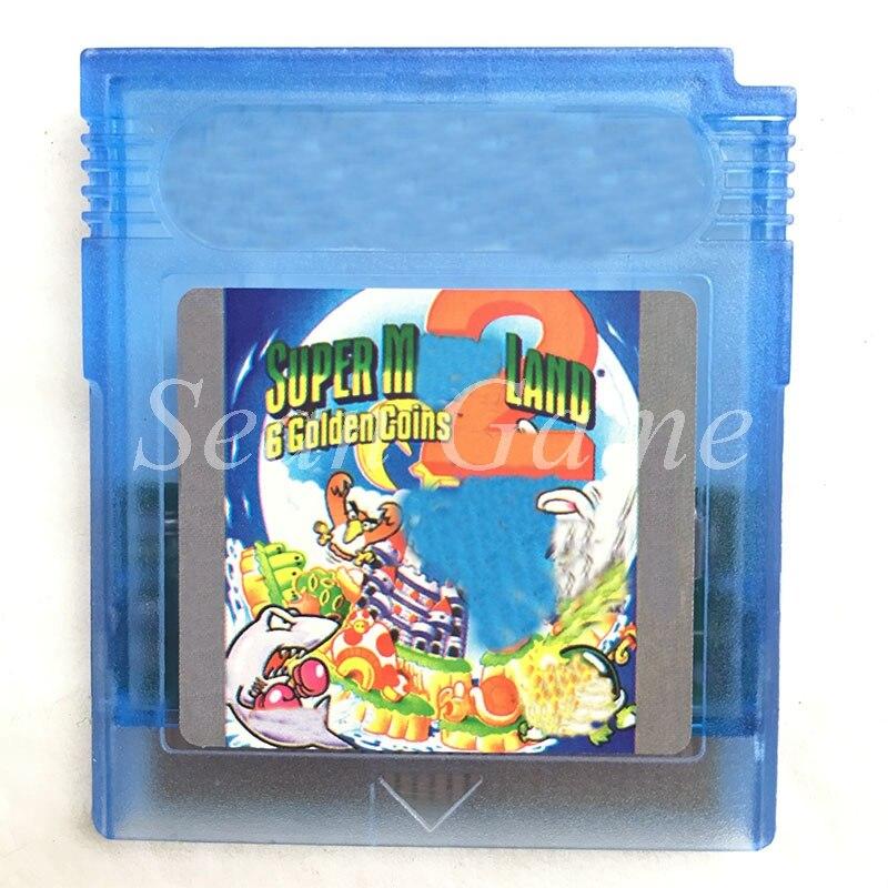 Cartão handheld do cartucho do jogo de vídeo do console 16 bits para a terra super m 6 moedas douradas 2 versão a primeira coleção