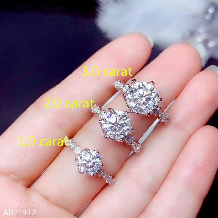 Kjjeaxcmy fine jewelry 1.0-3.0 certificado de identificação de quilates para anel feminino com diamantes de musgo em 925 prata esterlina