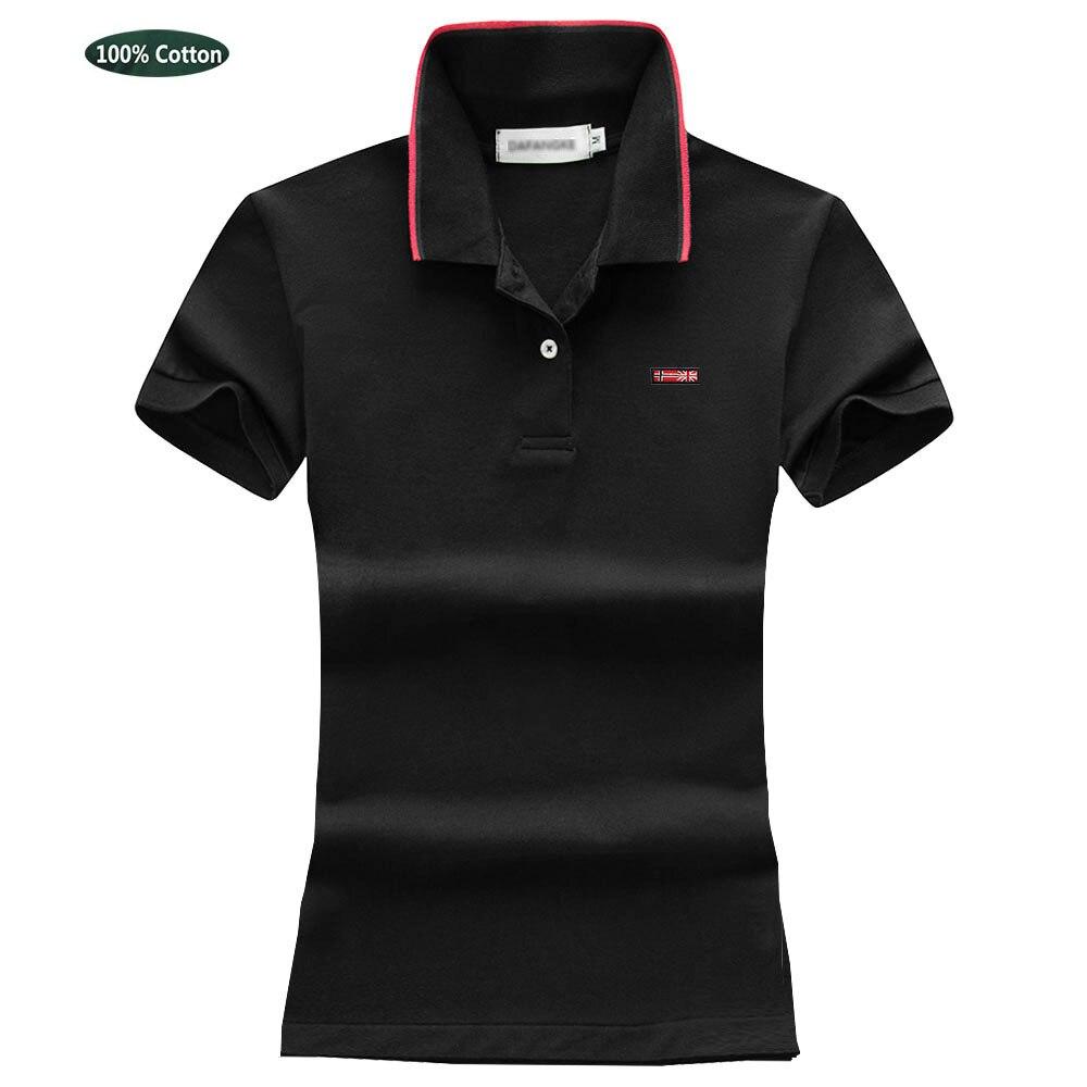 المرأة الصيف 100% القطن قميص بولو قصيرة الأكمام الكلاسيكية التلبيب نمط العلم شعار بلايز تيز عادية أنثى قميص بولو تي شيرت 4063