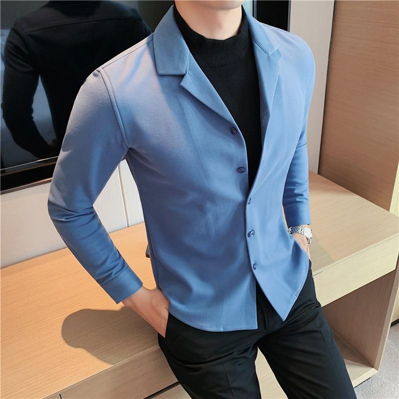 موضة الخريف الشتاء Fake-2Pieces سميكة الدافئة طويلة الأكمام قمصان الرجال الملابس بسيطة سليم صالح بلوزة صوفية عادية أوم 3XL-M