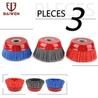 100mm 4%e2%80%98%e2%80%99 cup nylon abrasive brush wheel wire brush for drill rotary tool wood polishing deburring cleaning 16mm arbor