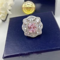 solid 18k gold 1ct pink moissanite diamond and 2ct white moissanitering d color vvs with national certificate