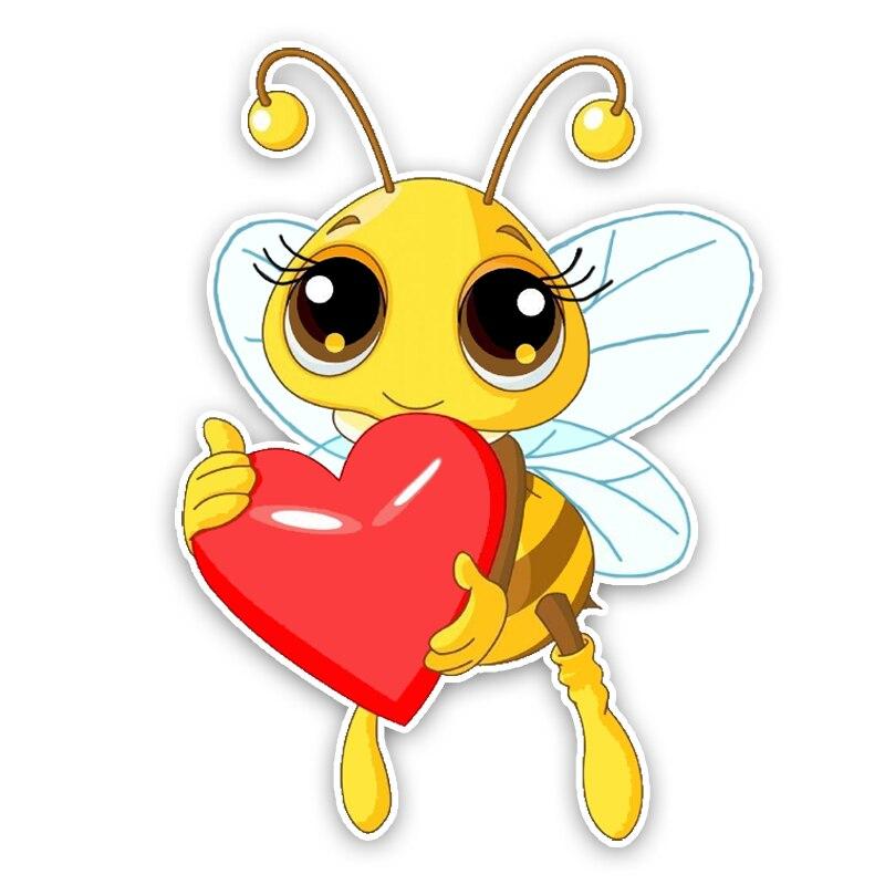 Модная интересная Красивая мультяшная Любовь Сердце пчелы цветная ПВХ автомобильная наклейка графическое украшение солнцезащитный Водон...