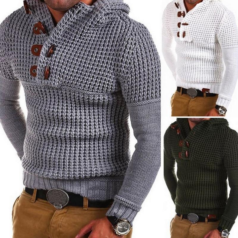 Новинка, вязаный свитер для мужчин, модные однотонные мужские свитера, плотный теплый мужской джемпер, свитер, мужские пуловеры, верхняя оде...