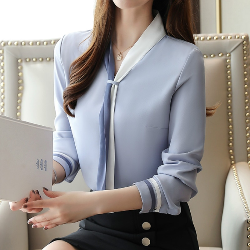 Blusa De chifón De talla grande para otoño, camisa De chifón De manga larga estilo Vintage para Mujer, 2019