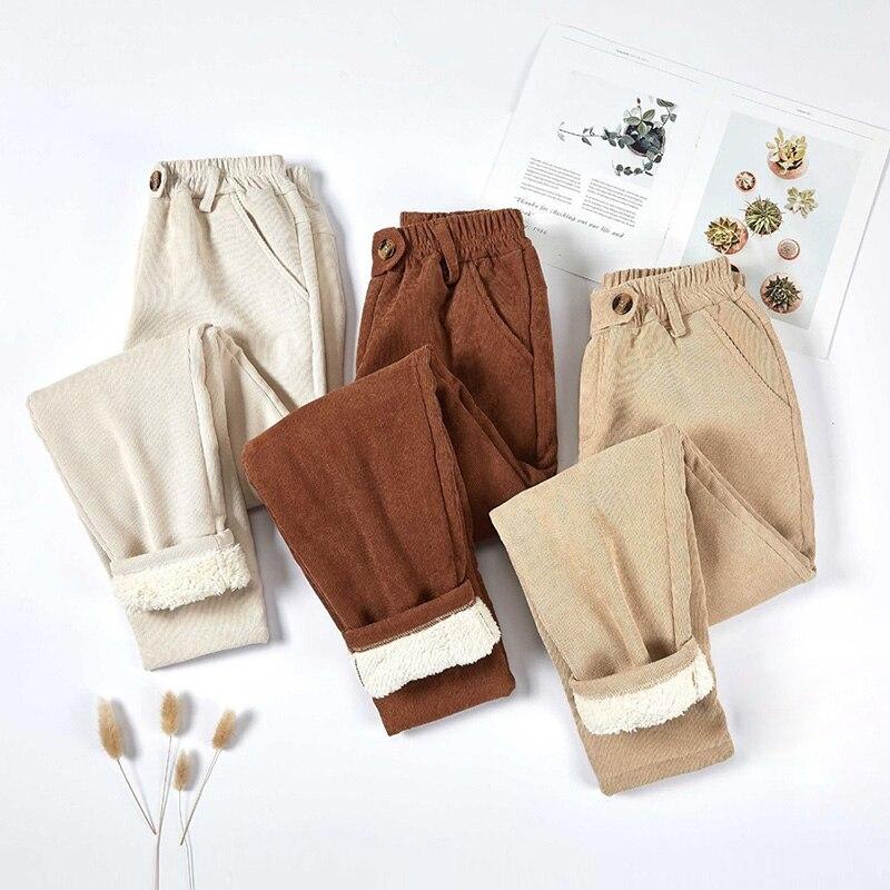 Женские вельветовые брюки 2021, плотные бархатные повседневные брюки, женские теплые брюки, зимние шаровары с эластичным поясом, свободные бр...