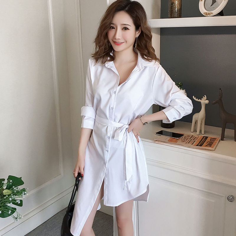 White Shirt Dress Long Sleeve Casual Sexy Belt Black Mid Long Shirts Sleepwear Irregular Loose Button Cardigan Blouses Female