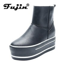 Fujin Snow Boots 2021 Women Boots Warm Genuine Leather Autumn Winter Motorcycle Booties Platform Sup