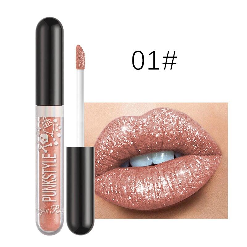 Matte Metallic Glitter Liquid Lipstick 1PC Symphony Lip Gloss Diamond Shimmer Lasting Waterproof Pea