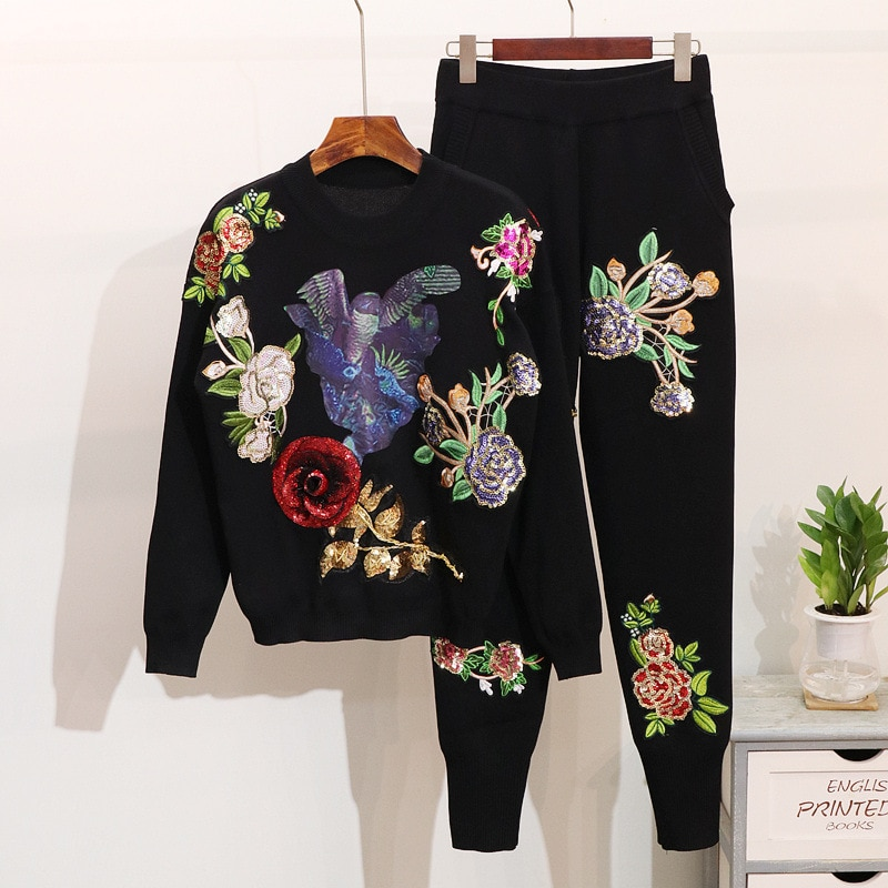 Fall new women custom sequined embroidery 2 piece fashion applique top baggy haren trouser suit women two piece outfits