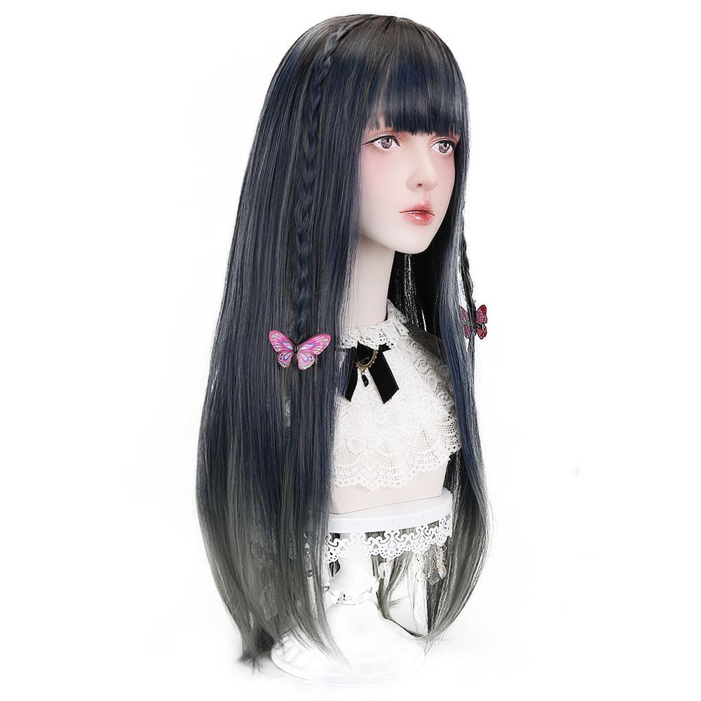 Свободные красивые длинные прямые синтетические волосы Омбре темно-зеленые парики с челкой для женщин японская Лолита Косплей Костюм Хэлл... красивые прямые диваны