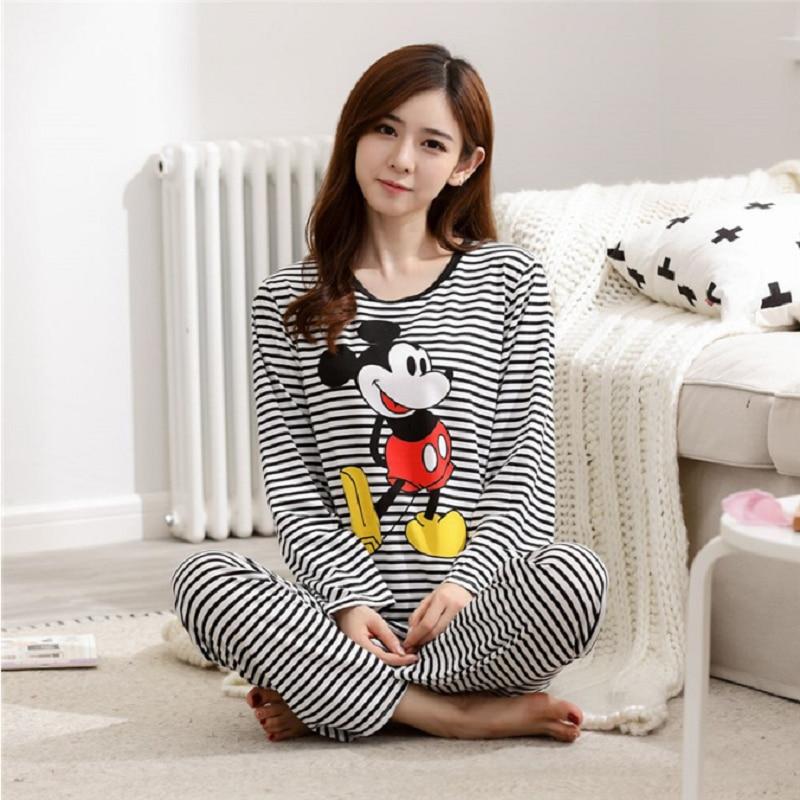 AliExpress - Disney Mickey Pajamas Women Love Cartoon Stripe Long-sleeved Trousers Home Suit Female Homewear Clothing Set Ladies Sleepwear